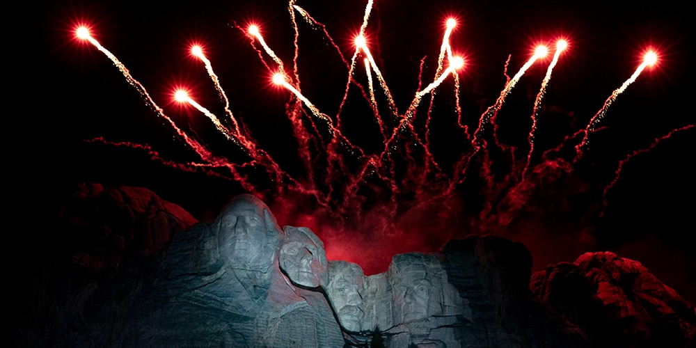 Independence Day fireworks above Mt. Rushmore